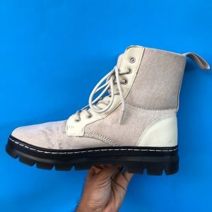 Dr. Martens fabric white boots